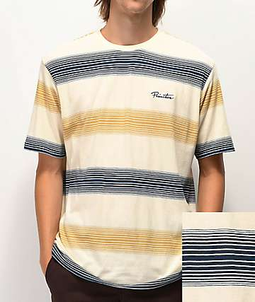 Primitive Lockwood Bone, Navy and Brown Stripe Knit T-Shirt