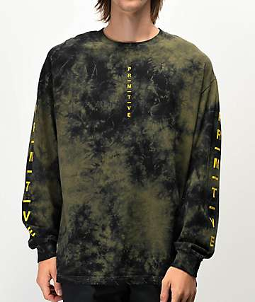 Primitive Moods Green & Black Tie Dye Long Sleeve T-Shirt