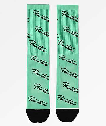 Primitive Nuevo Script Scatter Mint Green Crew Socks