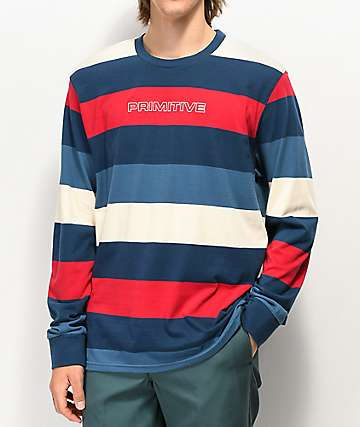 Primitive Porter Blue, Red & White Stripe Long Sleeve T-Shirt