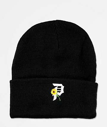 Primitive Sunflower Black Beanie