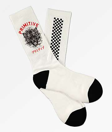 Primitive Tiger White Crew Socks