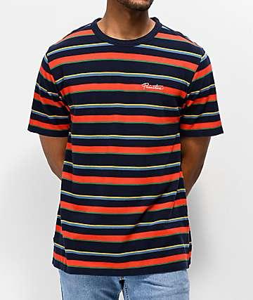 Primitive Washed Pique Striped Navy T-Shirt