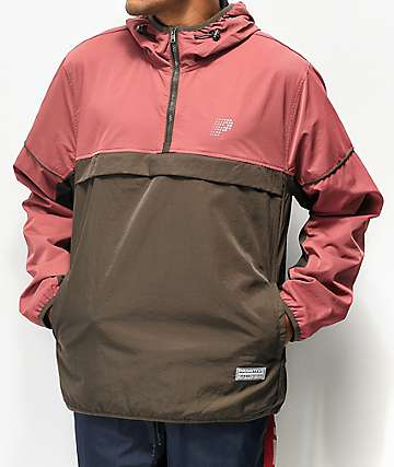 Primitive Wilshire Burgundy and Brown Colorblock Anorak Jacket