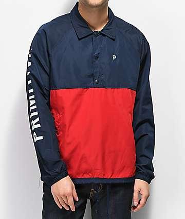 Primitive chaqueta anorak azul y roja