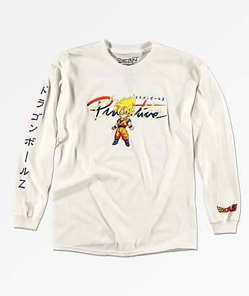 Primitive x Dragon Ball Z Boys Goku Saiyan White Long Sleeve T-Shirt