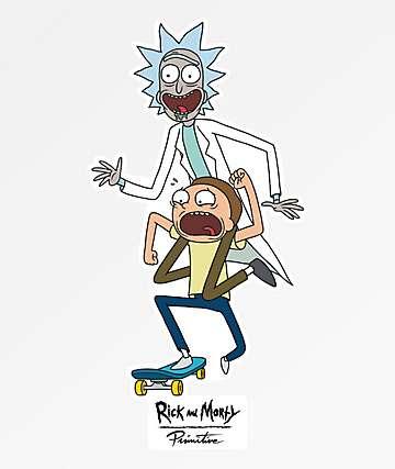Primitive x Rick and Morty skate pegatina