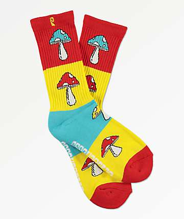 Psockadelic Andy Red, Yellow & Blue Crew Socks