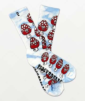 Psockadelic Shrooms Blue Tie Dye Crew Socks