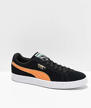 Puma Suede Classic Black & Orange Shoes