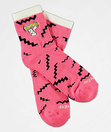 RIPNDIP Catch Em All Pink Crew Socks