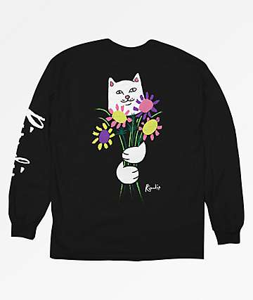 RIPNDIP Flowers For Bae Black Long Sleeve T-Shirt