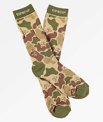 RIPNDIP Invisible Army Green Camo Crew Socks