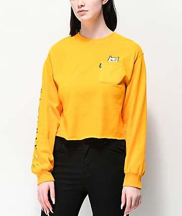 RIPNDIP Lord Nermal Gold Crop Long Sleeve T-Shirt