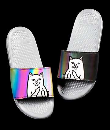 RIPNDIP Lord Nermal Iridescent Grey Slide Sandals