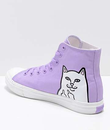 RIPNDIP Lord Nermal Lavender & White Hi-Top Shoes