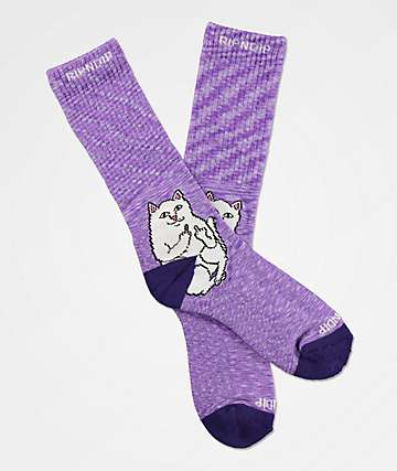 RIPNDIP Lord Nermal Purple Speckle Crew Socks