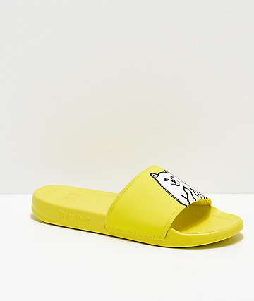 RIPNDIP Lord Nermal Safety Yellow Slide Sandals