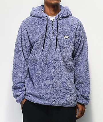 RIPNDIP Nerm Leaf Lavender Half Zip Fleece Hoodie