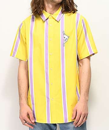 RIPNDIP Peek A Nermal Yellow Short Sleeve Button Up Shirt