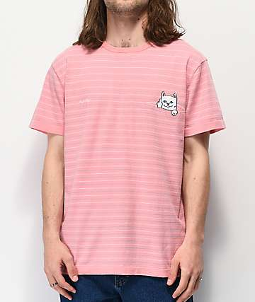 RIPNDIP Peeking Nermal Pink Striped T-Shirt