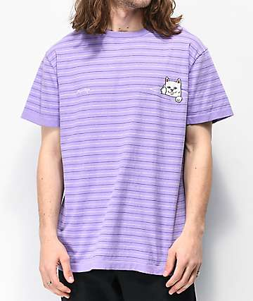 RIPNDIP Peeking Nermal Purple Striped T-Shirt