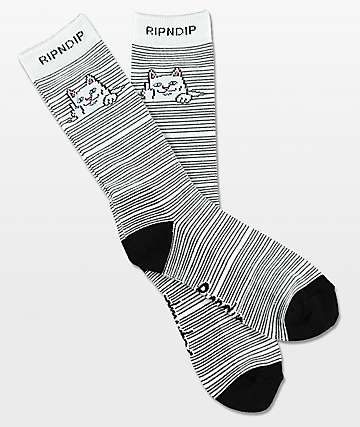 RIPNDIP Peeking Nermal White & Black Crew Socks