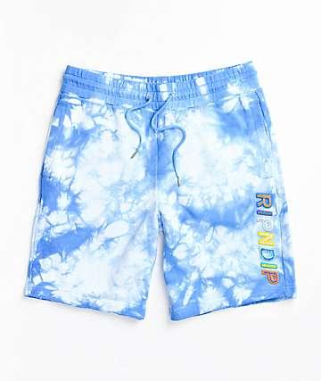 L Mens green /& blue tie dye sweat shorts
