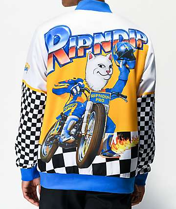 RIPNDIP Speed Racing White Varsity Jacket