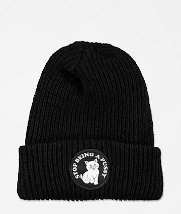 RIPNDIP Stop Being A Pussy Black Beanie