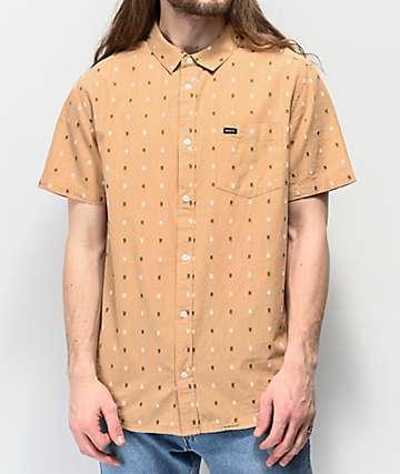 RVCA Aye Kat camisa dorada de manga corta