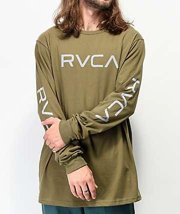 RVCA Big RVCA Army Green Long Sleeve T-Shirt