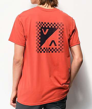 RVCA Checkmate Coral Red T-Shirt