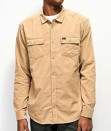 RVCA Freeman Khaki Corduroy Woven Long Sleeve Shirt