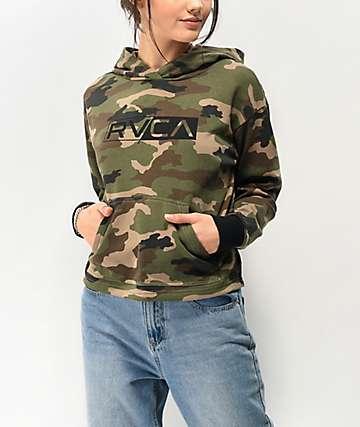 RVCA Front Logo Camo Crop Hoodie