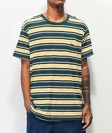 RVCA Hank Stripe Green T-Shirt