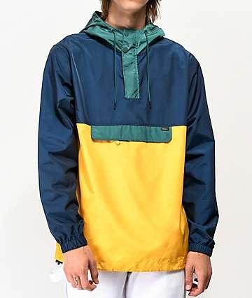 RVCA Killer chaqueta anorak verde, azul y amarilla