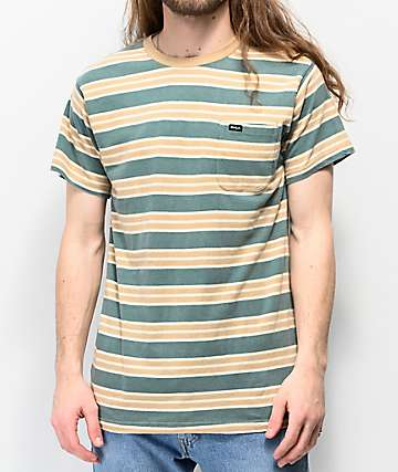 RVCA Lucas Stripe Green T-Shirt