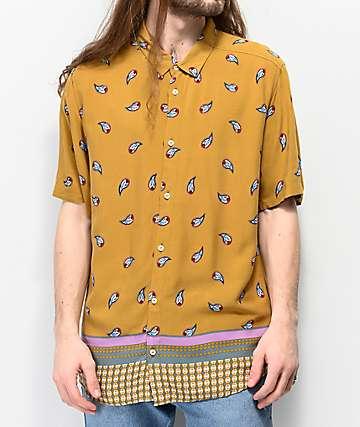 RVCA Lux camisa de manga corta tejida marrón