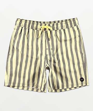 RVCA Montague Black & Cream Striped Board Shorts