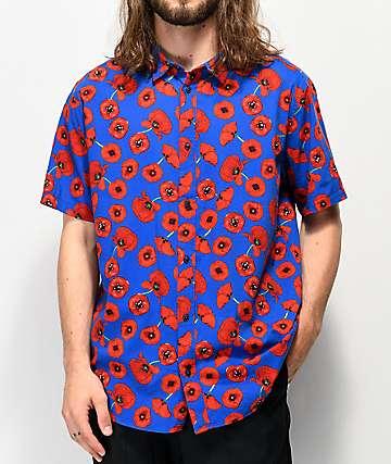 RVCA Peace Poppy Blue Button Up Shirt