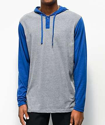RVCA Pick Up Blue & Grey Hooded Long Sleeve Knit T-Shirt