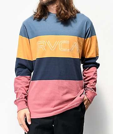 RVCA Shifty camiseta de manga larga azul pizarra, dorada, azul marino y ladrillo