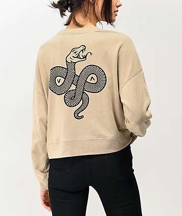 RVCA Snake Tan Crew Neck Sweatshirt
