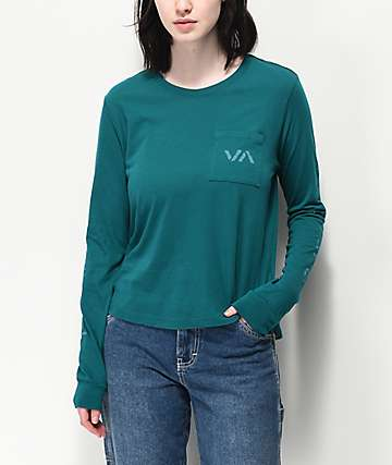RVCA VA Spray Spruce Long Sleeve T-Shirt