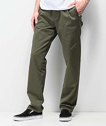 RVCA Weekend Elastic Waist Olive Chino Pants