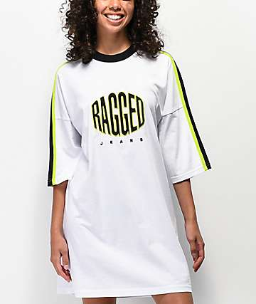 Ragged Jeans Logo White T-Shirt Dress