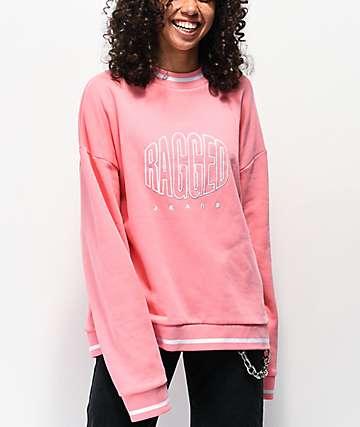 Ragged Jeans Logo sudadera rosa con cuello redondo