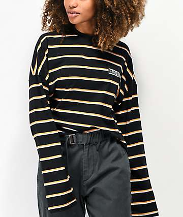 Ragged Jeans Praise Black, Orange & White Stripe Long Sleeve T-Shirt
