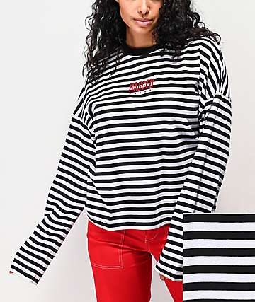 Ragged Jeans Priest Dogma Black & White Striped Crop Long Sleeve T-Shirt